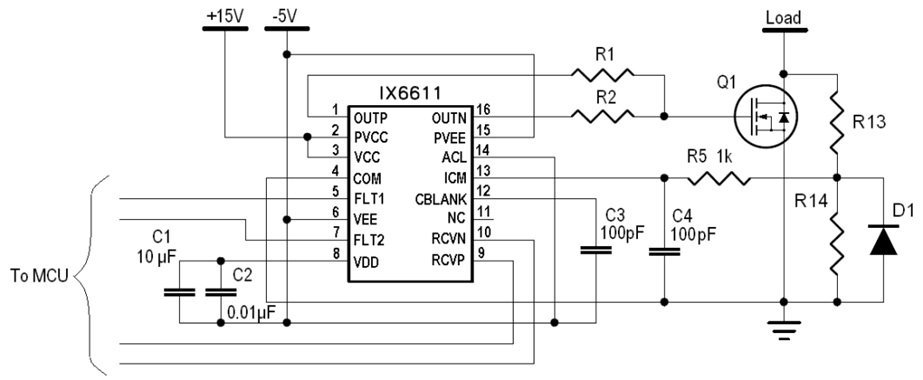 Over-current protection using IX6611 ICM comparator and de-saturation voltage.