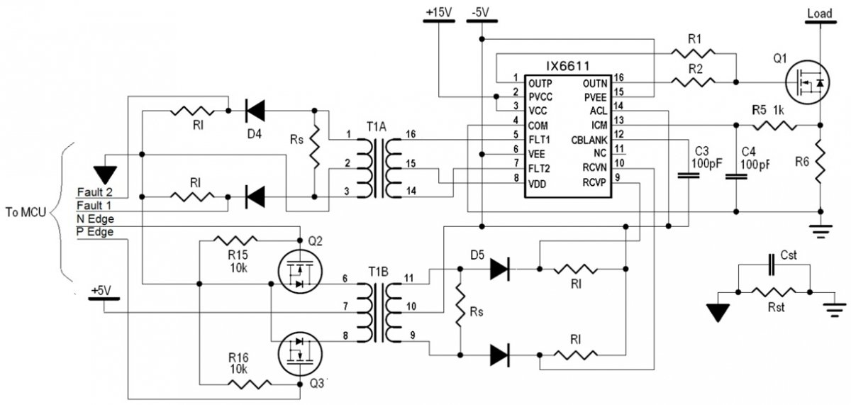 MCU connection with IX6611 using an isolation transformer.