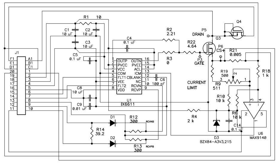 Schematic of the SiC MOSFET test board used for the two-pulse test with IX6611 as a gate driver and additional comparator to set different maximum drain current values using the same current sense resistor.