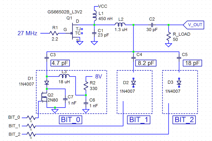 Power Stage with 3 Bit Tuning Network