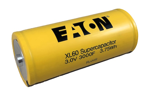 Figure 1. Eaton's XL60 3.0V 3000F supercapacitor. Image courtesy of Eaton.