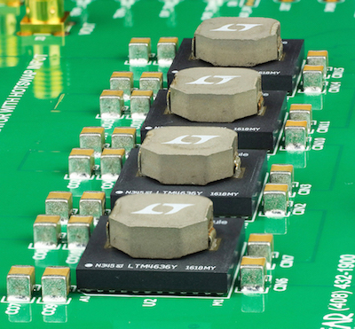 Figure 1: 3D Packaging of the LTM4636 Puts One of the Hottest Components, the Inductor, on Top, Where Significant Surface Area Is Exposed to Airflow. It Is Easy to Lay Out Parallel LTM4636s to Scale Power Capability—Simply Duplicate the Layout of One Channel and Multiply.The Clean Layout Here Shows Four Channels at 40A Each.