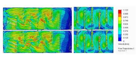 Figure 8: Left: flow through the bypass; right: underside view of the channels. Colors depict velocities