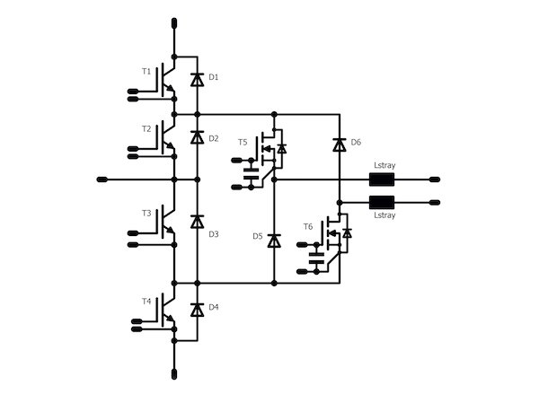 Figure 8: ANPC with split output and gate capacitor