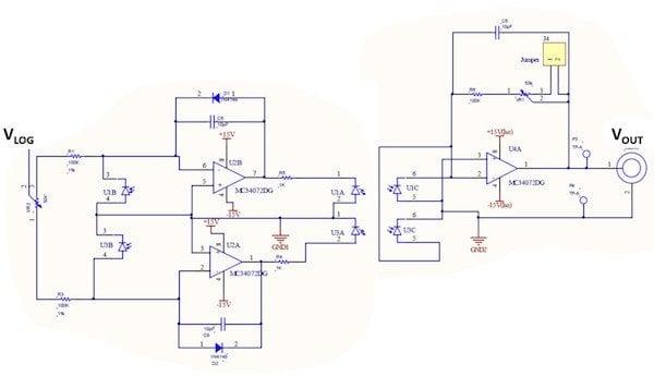 Figure 1: HCNR201/200 Bipolar Analog Input Isolation circuitry (U1A, U1B, U1C and U3A, U3B, U3C as 2 HCNR optocouplers respectively)