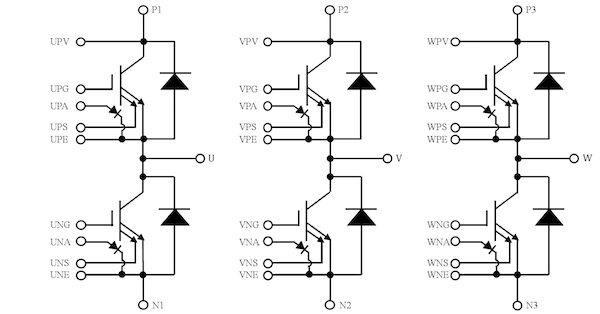 Figure 2: Circuit diagram of J1 module high power package