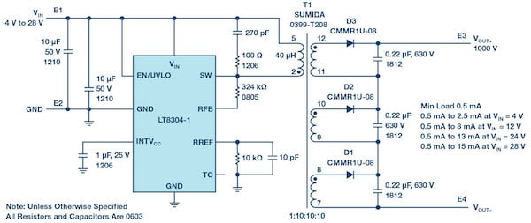 Figure 1: A complete 1000 V/15 mA isolated flyback converter from a 4 V to 28 V input.