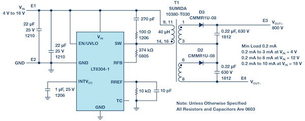 Figure 4: A complete 800 V/10 mA isolated flyback converter from a 4 V to 18 V input.