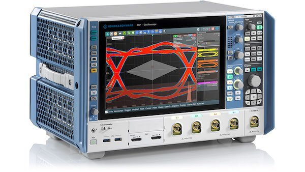 Figure 1: RTP oscilloscope. Key facts: Bandwidth 4 GHz to 8 GHz; max. sample rate: 20 Gsample/s; max. memory depth: 2 Gsample; all trigger events at full bandwidth; up to 16-bit resolution; signal integrity in realtime.