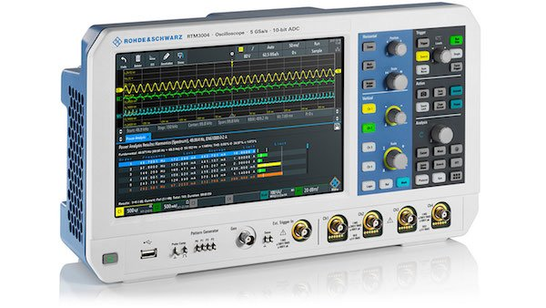 Figure 2: RTM3000 oscilloscope. Key facts: Bandwidth: 100 MHz to 1 GHz; Sample rate: up to 5 Gsample/s; Memory depth: up to 80 Msample; ADC resolution: 10-bit; Display: 10.1'' capacitive touchscreen.