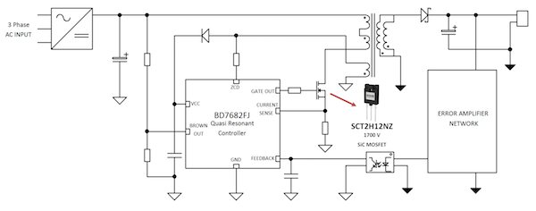 Figure 3: Auxiliary power supply circuit using BD728xFJ control IC and 1700V SiC MOSFET