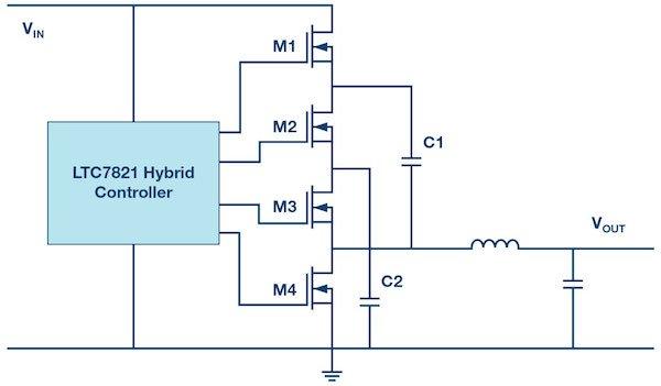 Figure 3: Circuit design for a hybrid step-down converter.