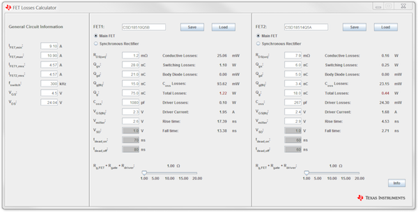 Figure 3: Power Stage Designer FET Losses Calculator window
