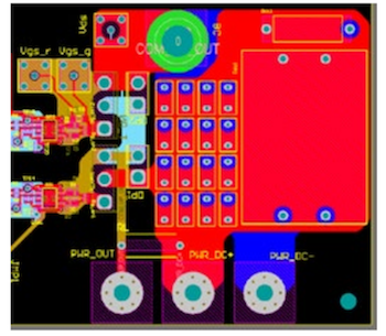 Fig. 4. An example power board layout, illustrating compactness and optimal lamination of positive (red layer) and negative (blue layer) dc power paths to reduce stray power loop inductance. Sixteen decoupling capacitors are also shown in the center.