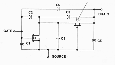 Figure 2: Equivalent circuit of the above structure. Both drawings are from Harris Semiconductor application notes.