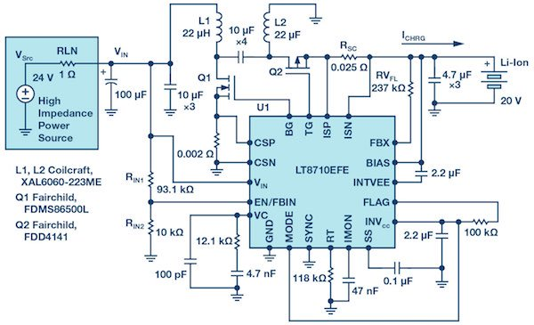Figure 1: Electrical schematic of a LT8710 lithium-ion battery charger in high impedance input lines.