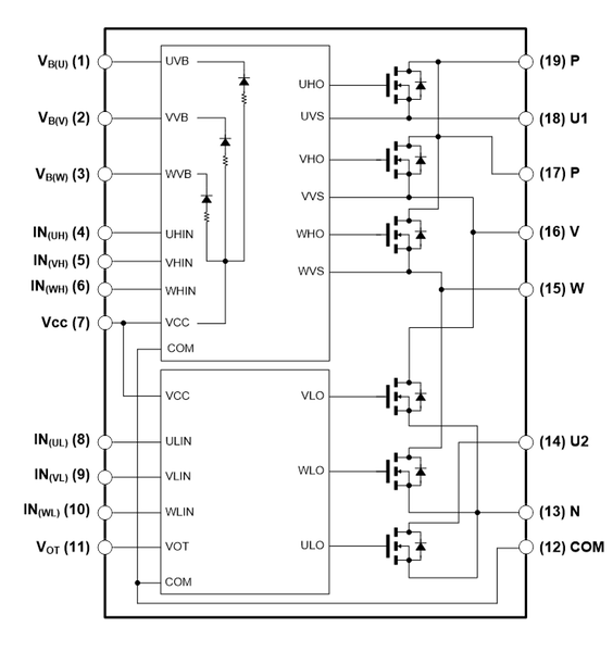 Figure 1: Proposed IPM. (a) External view, (b) Internal equivalent circuit and pin configuration