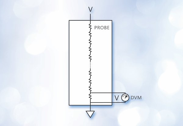 Figure 1: A voltage divider is typically used to measure voltages above the instrument's direct input range.