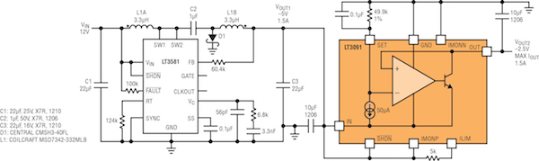 Figure 4: 1.5A low noise and fast transient positive-to-negative converter