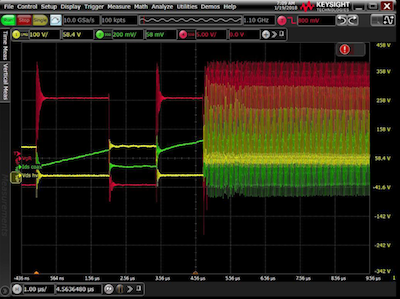 Figure 1: Example unexpected ringing seen at the double pulse test