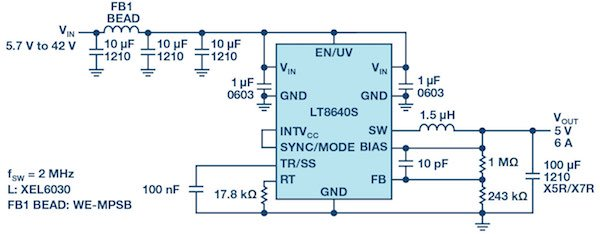 Figure 1: Ultralow EMI LT8640S 5 V/6 A step-down converter with Spread Spectrum mode.