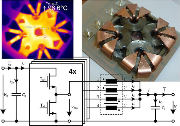 Figure 1: Four-phase coupled-inductor Vh = 48V, i = 170A, Vvol = 24cm3 = 46.3 x 46.3 x 11.25mm3 overall outer cuboid inductor volume