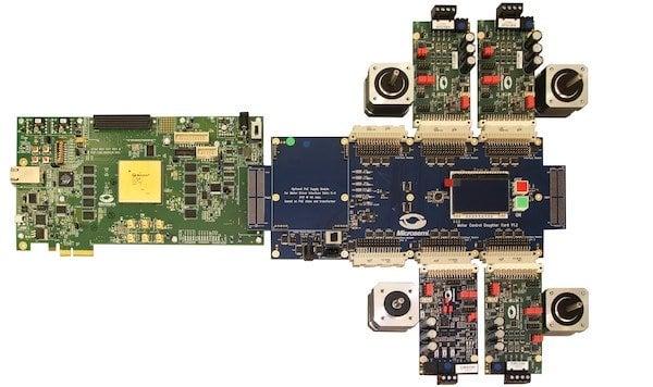 Sample picture of RTG4 Motor Control Kit operating 3 BLDC motors