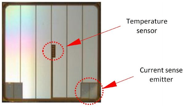 The temperature sensor and the current sense emitter components of the IGBT chip in the G1-IPM