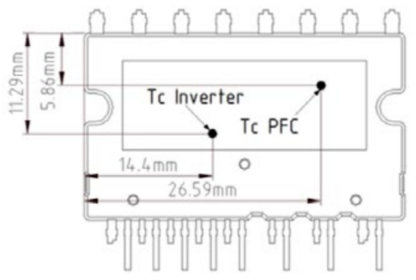 Temperature measurement point and test results of the new IPM (IFCM15S60GD), Temperature measurement point