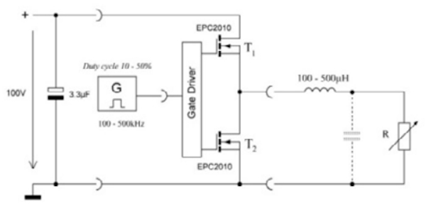 Synchronous converter topology with a half-bridge using two AlGaN/GaN-HFETs (T1 and T2)