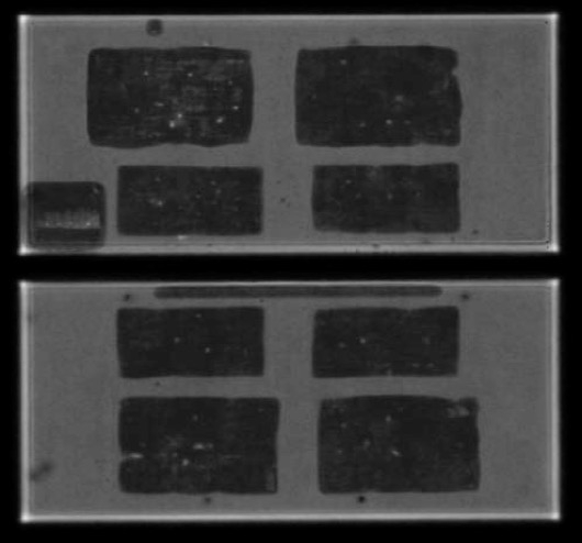 Back side solder quality before (a) and after (b) >900.000active cycles (DT 70°C, Tm=100°C). First signs of degradation visibleunderneath IGBT (white arrow)