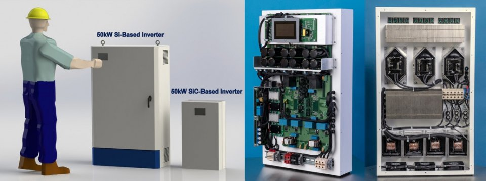 (Left) A relative size comparison of a typical 50kW Si IGBT string inverter and the 50kW SiC-based string inverter demonstration developed by Cree, Inc. (pictured, front and back, on the right)