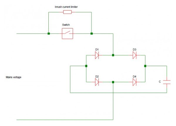 Bypass-system to limit inrush currents