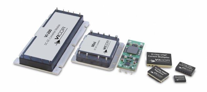 The evolution of power-conversion modules: (Left to right); Vicor VI-200 full brick; Mini (1/2 brick); IBC (1/8 brick); Full and half VI Chips and SiP (System in Package) plus ChiP (Converter housed in Package)
