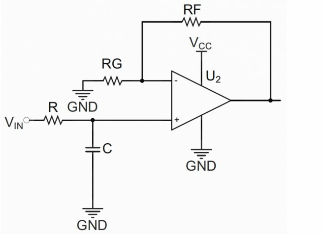 Non-inverting amplifier with EMI external filter
