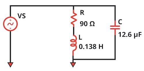 We've added a power-factor-correction capacitor in parallel with the original circuit.