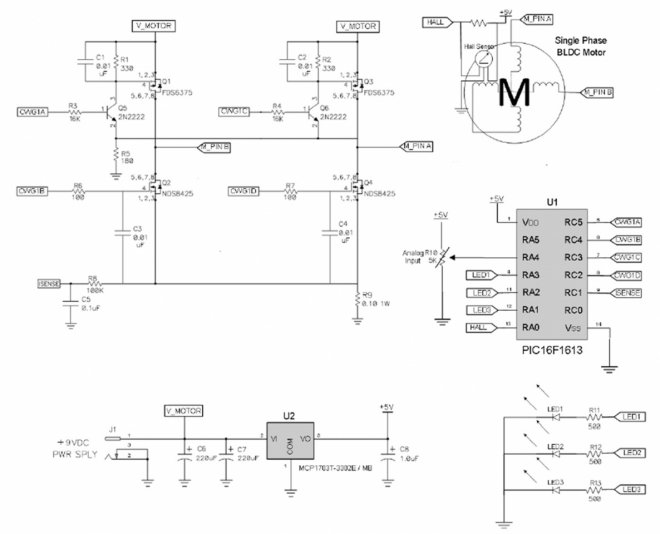 Single-phase BLDC motor driver schematic diagram