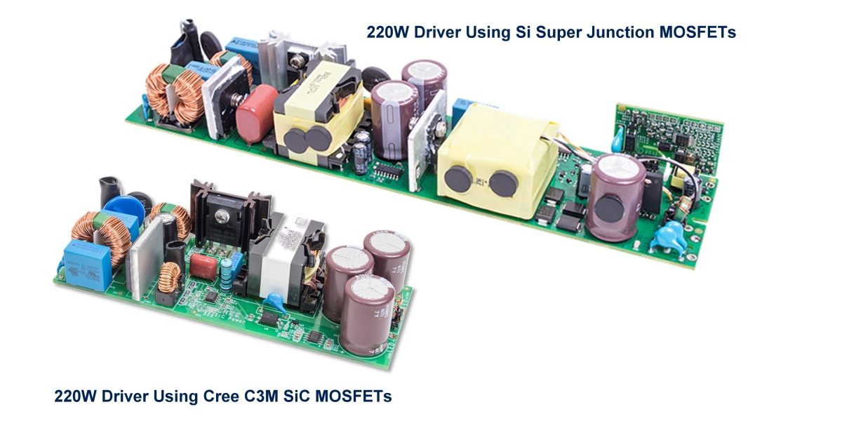 Side-by-side comparison of two 200W LED drivers: one using Si superjunction MOSFETs and two-stage topology, and the other using a Cree® C3M™ SiC MOSFET and single-stage topology