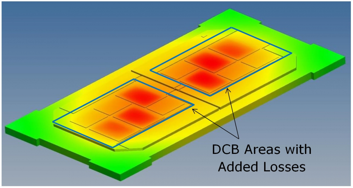 Figure 6: Layout showing area for additional loss on top copper surface layer of DCB