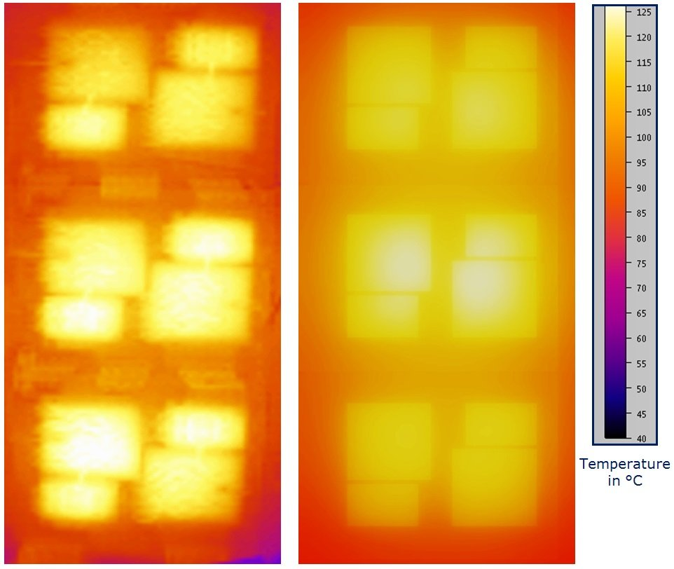 Figure 4: 450A module. Left thermal image with IR camera, right FEA model image.