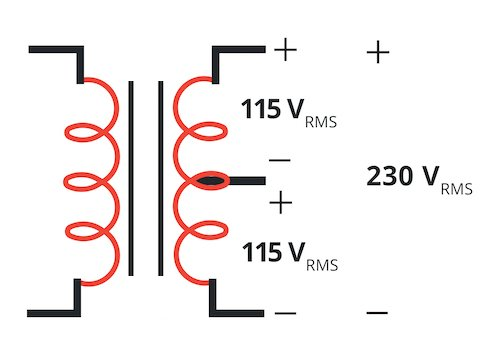 An example of how a center-tapped transformer can be used.
