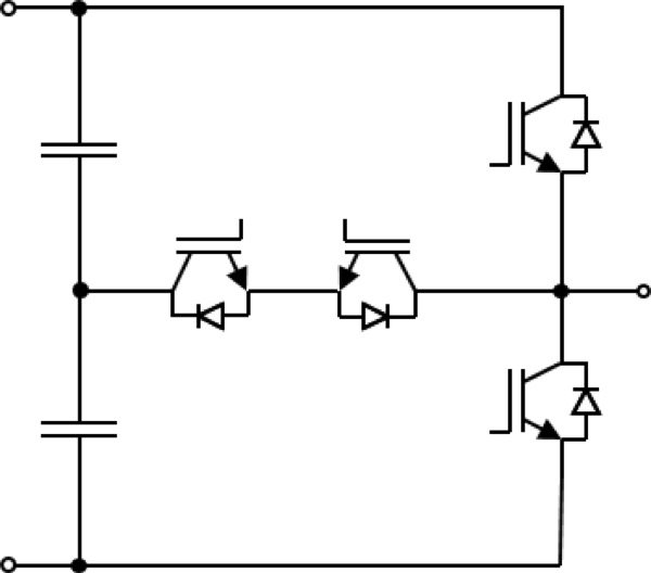three-level transistor clamped (NPC-2, T-Type) inverter; for each topology, only one out of three phases is shown.