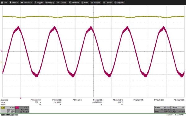 V_out and I_ph at Fs = 50 kHz, Pout = 10 kW, Dead Time = 200 ns. Efficiency = 98.6%, THD_i = 3.2%