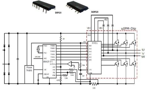 µIPM-DIP 600A 4A IPM package (top) & its application example circuit (bottom)