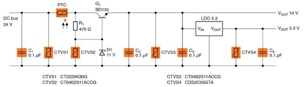 Generation of different voltage levels in a fire detector by means of a discrete solution for 10 V and an LDO (low-dropout controller) for 3.3 V. Four varistors are used here for the protection against overvoltages