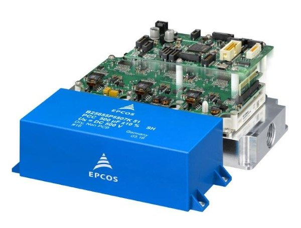Complete motor inverter for a power output of up to 150kW. The most important passive component is the EPCOS PCC as DC link capacitor. The complete design is available as an evaluation kit.