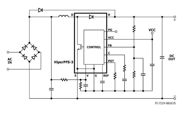HiperPFS-3 – Note the integrated CCM-boost diode and simplified feedback network feeding the integrated non-linear amplifier via the FB pin