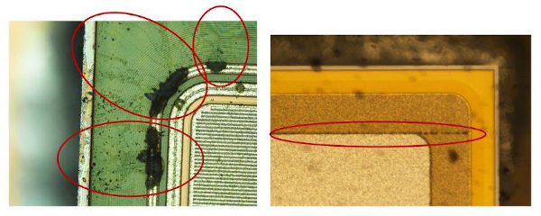 Higher voltages present at the exposed chip surfaces