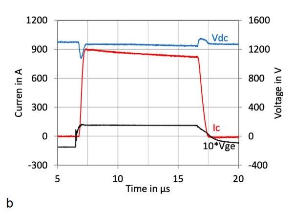 IGBT short circuit failure mode condition: Tcase=175°C, VDC=1300V, VGE=±15V, Ls=60 nH and RGon =2.2W, RGoff =20W