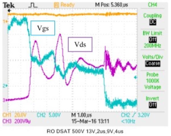 Fault Condition (Desat) Vdc = 500V, Ids = 2000A, RG= 0Ω, VOvershoot = 500V
